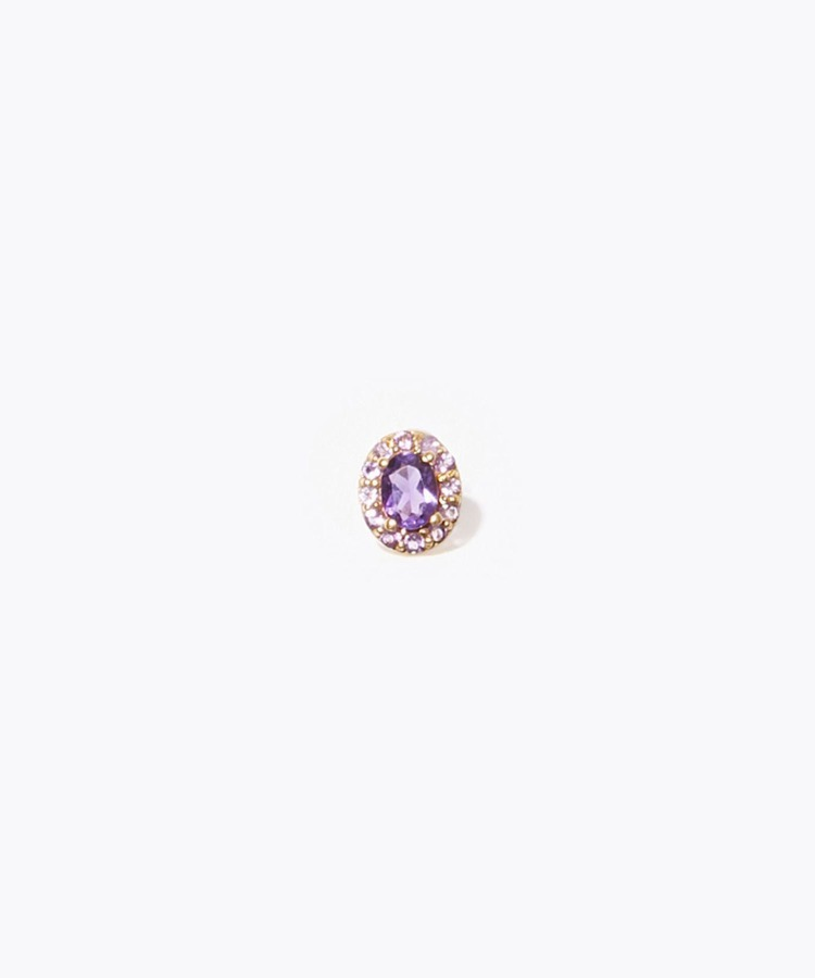 """eden"" K10 oval amethyst and pave amethyst stud pierced earring"