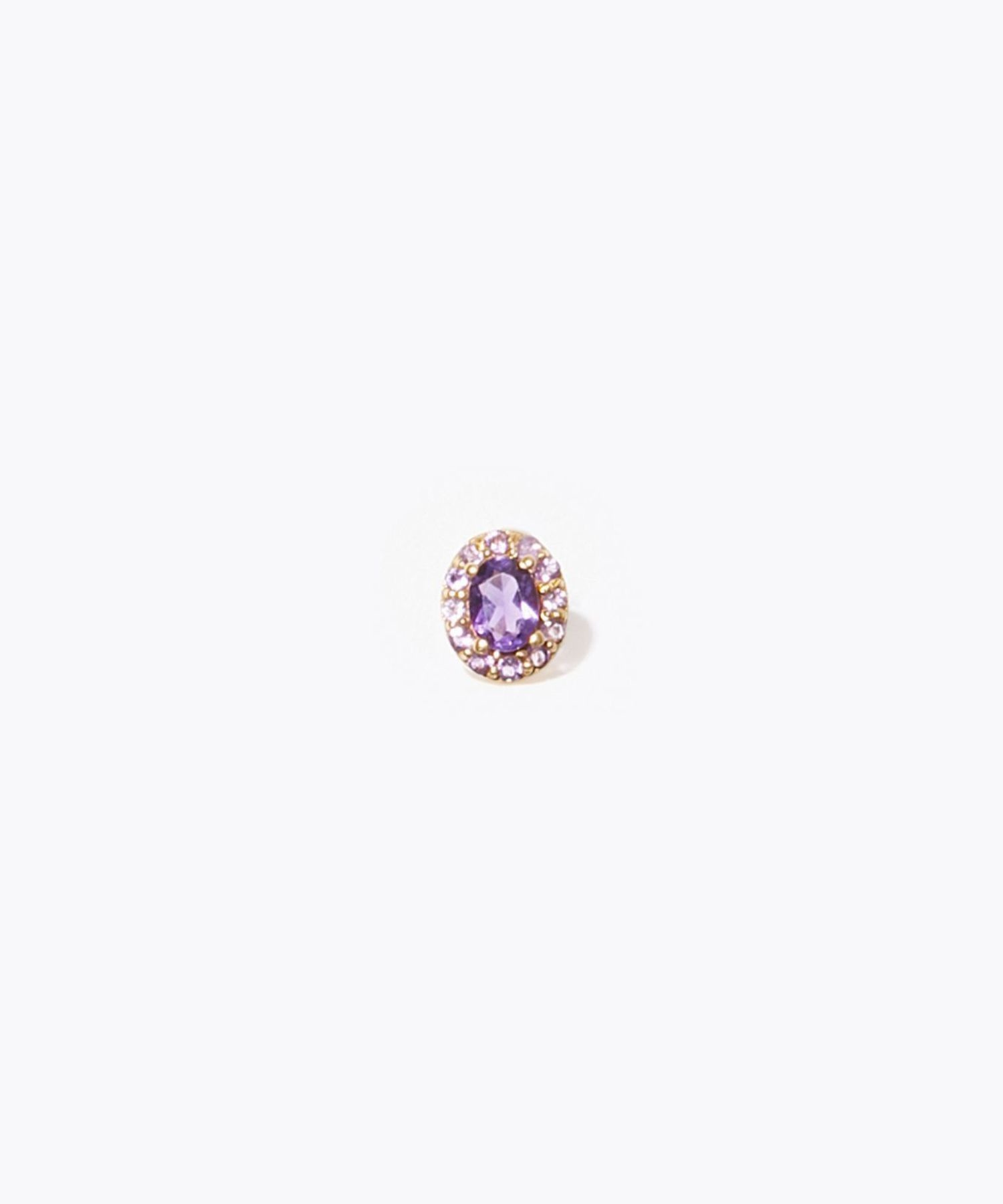 [eden] K10 oval amethyst and pave amethyst stud pierced earring