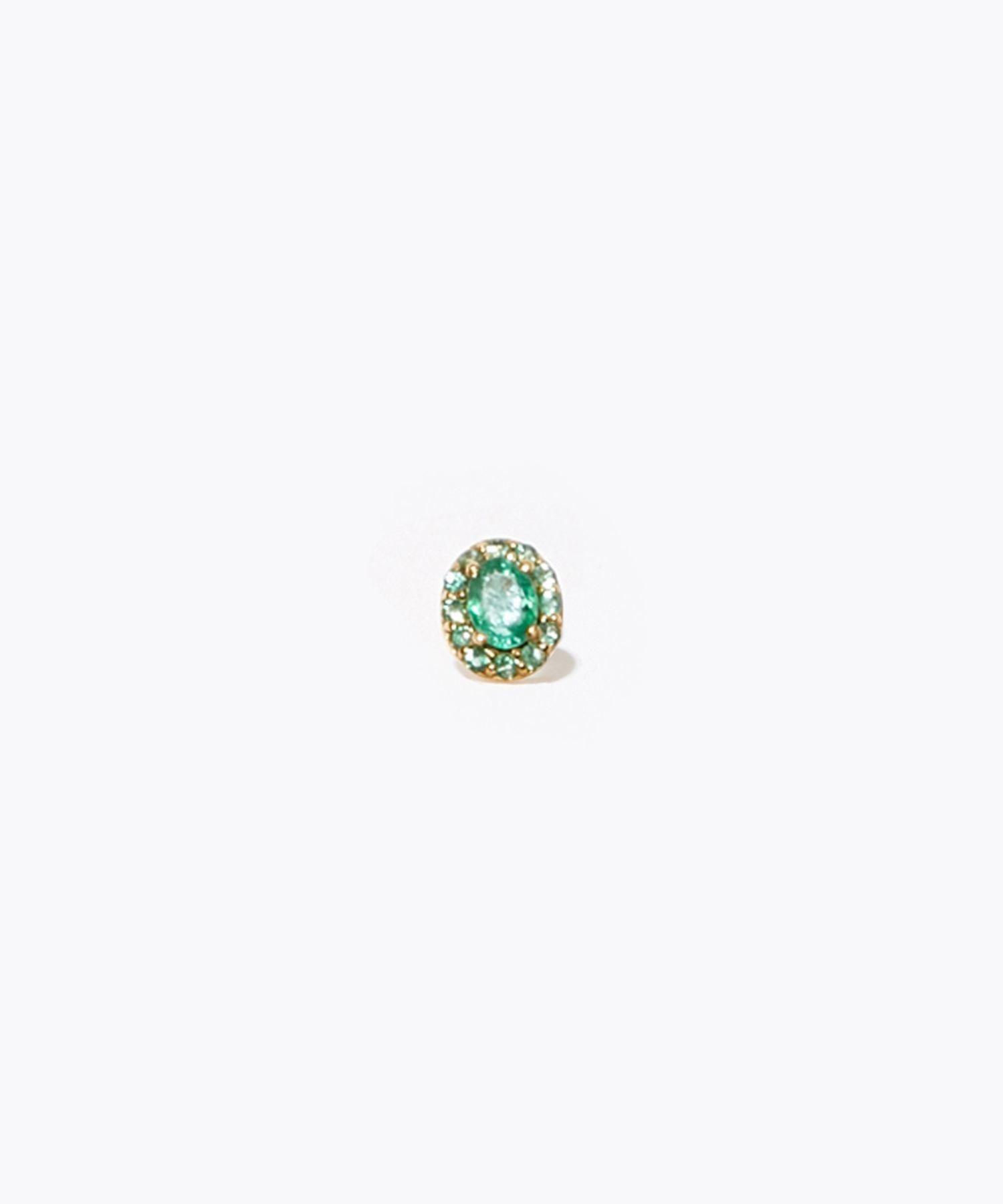 [eden] K10 oval emerald and pave emerald stud pierced earring