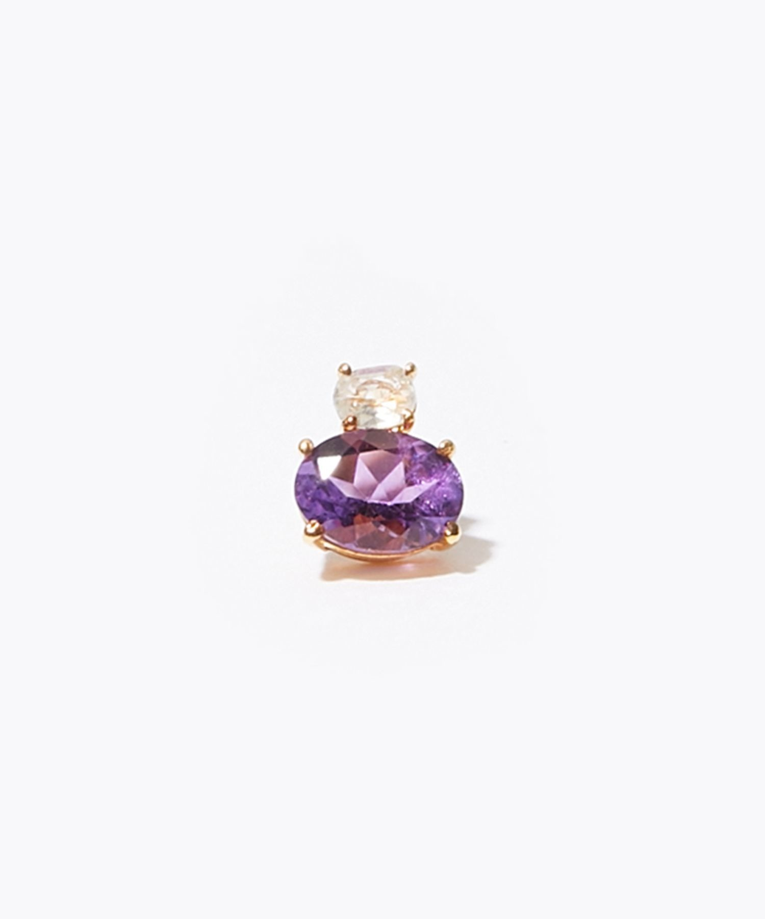[eden] K10 amethyst and green quartz stud pierced earring
