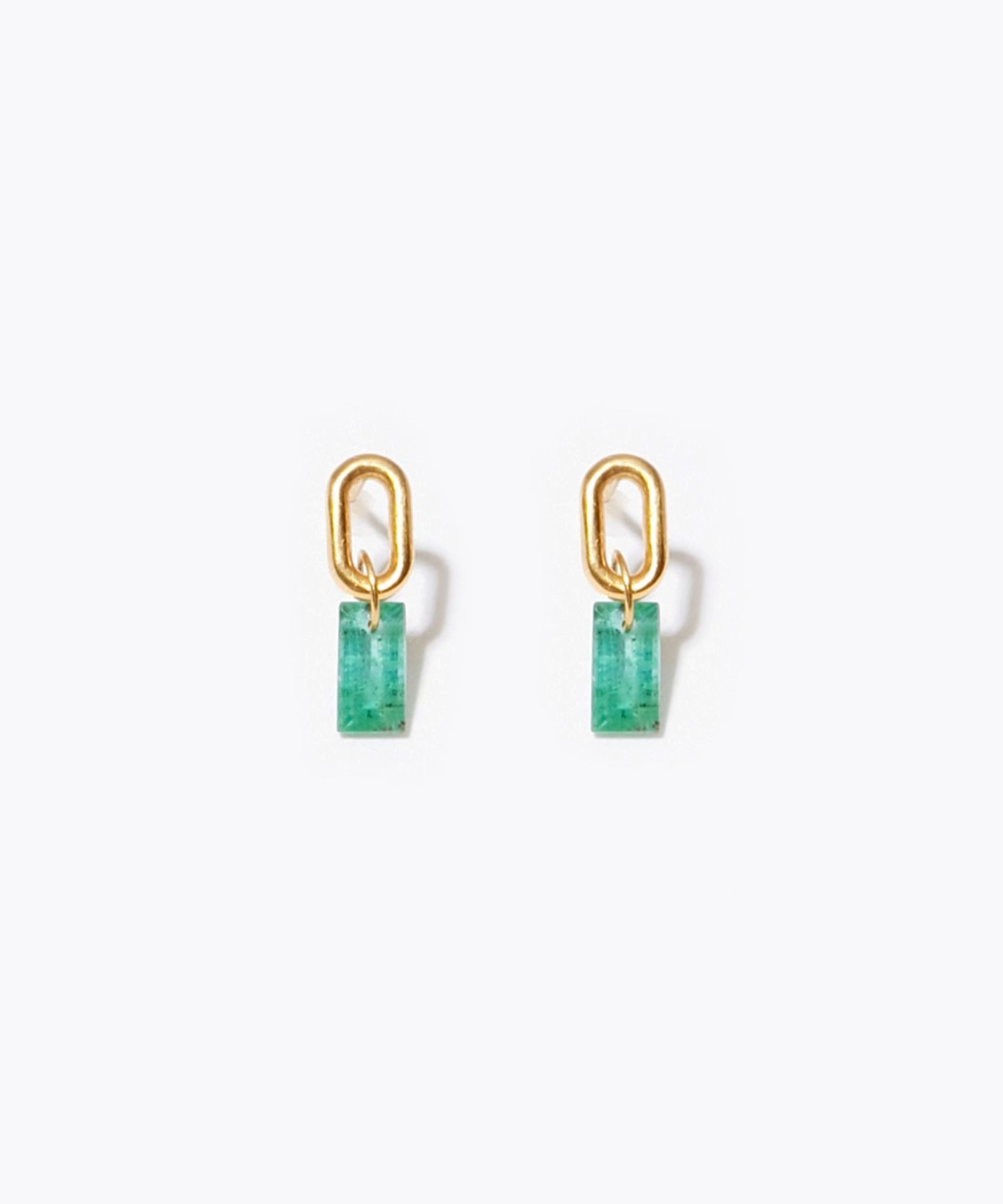 [eden] K10 rectangle emerald oval hoop pierced earring