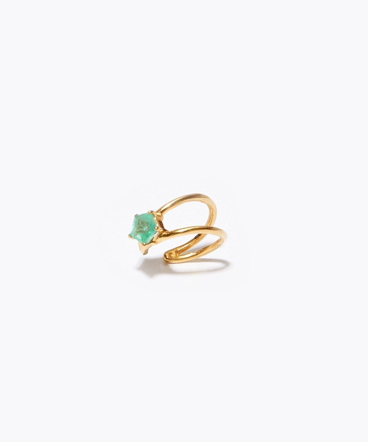 """eden"" K10 pentagon emerald mini cuff"