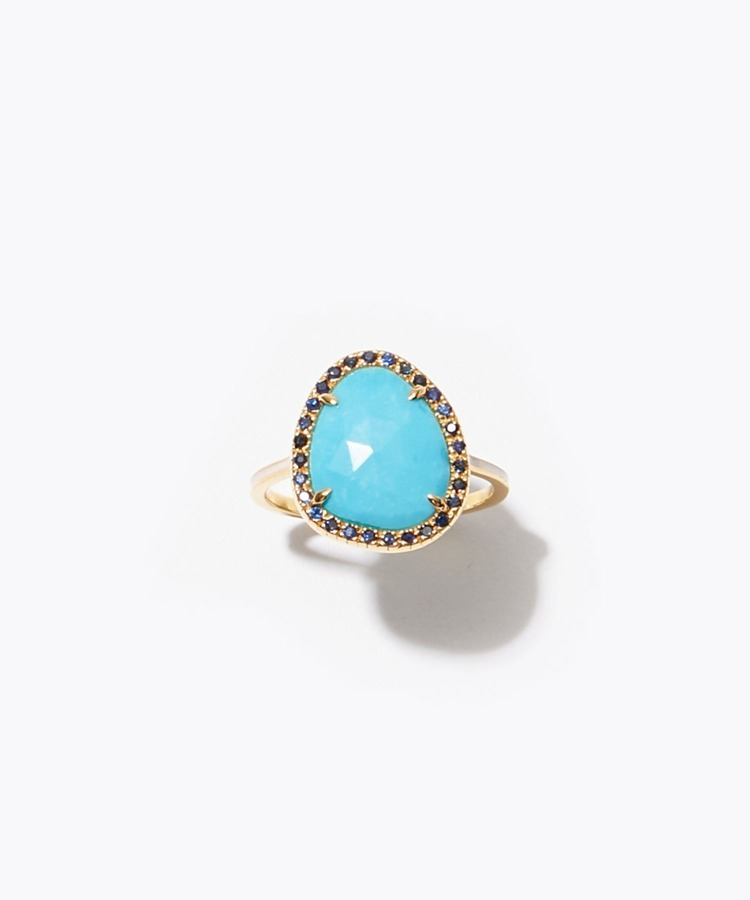 """eden"" K10 turquoise and pave blue sapphire ring"