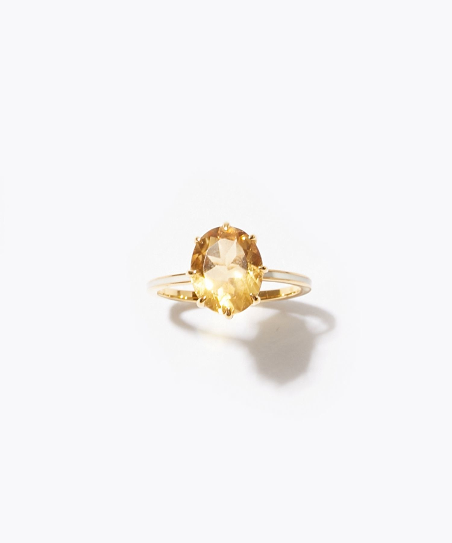 [eden] K10 oval citrine and white enamel ring