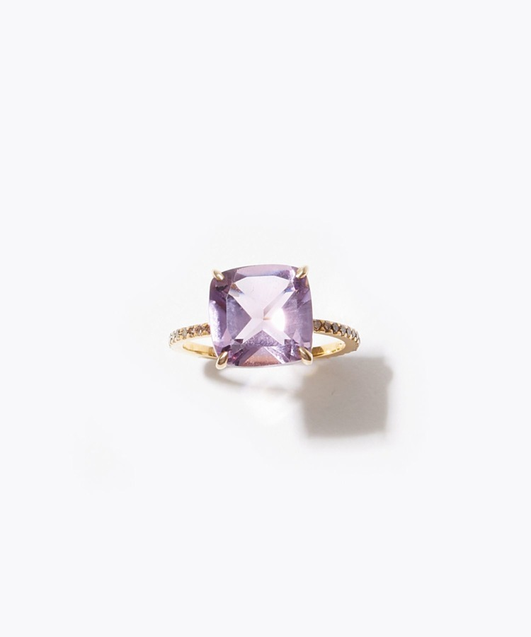 """eden"" K10 cushion cut amethyst and pave diamonds ring"
