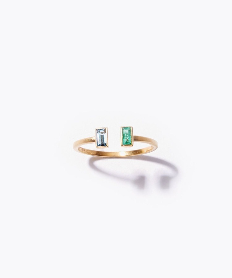 """eden"" K10 rectangle emerald and london blue topaz open ring"