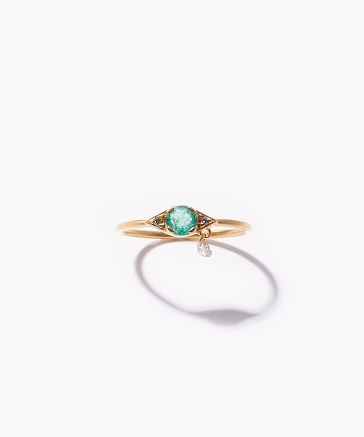 [evil eye] K10 emerald ring