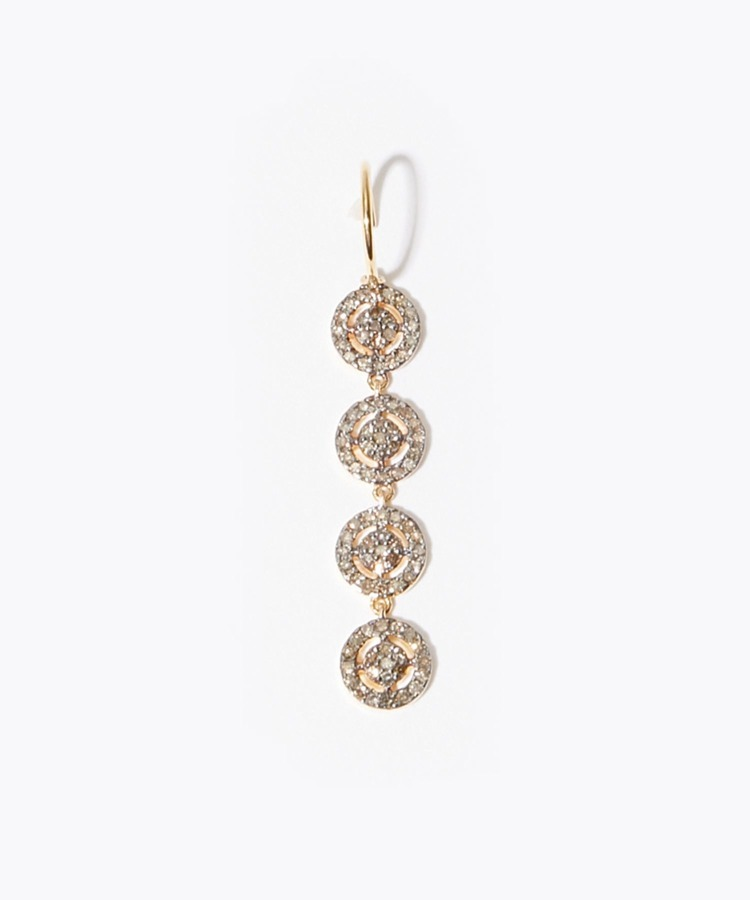 """jupiter"" disque pave diamondss drops pierced earring"