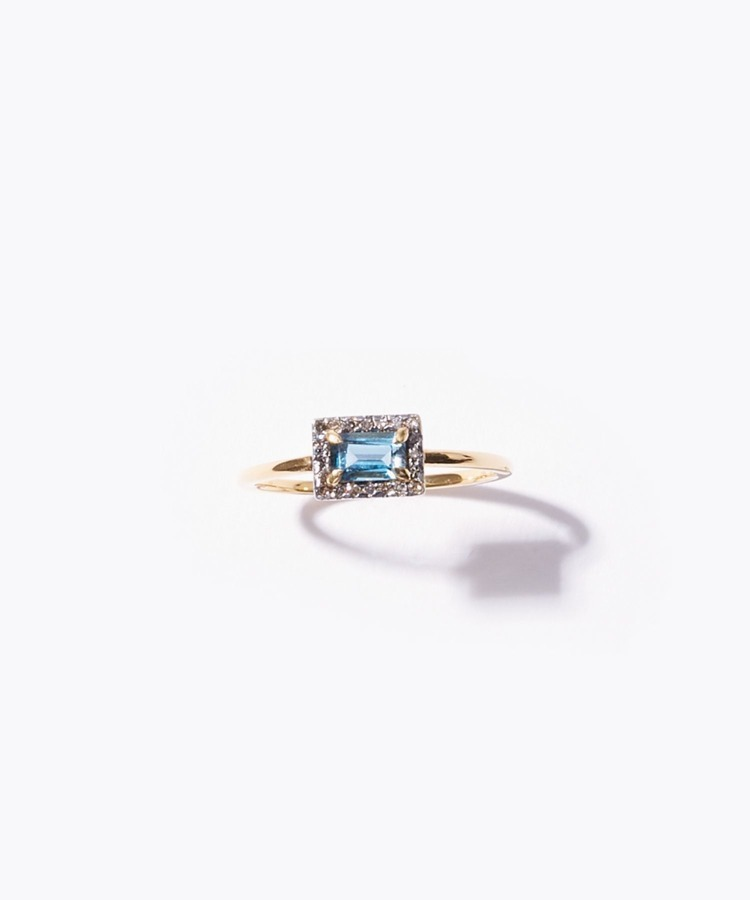 [elafonisi] london blue topaz pave diamonds ring