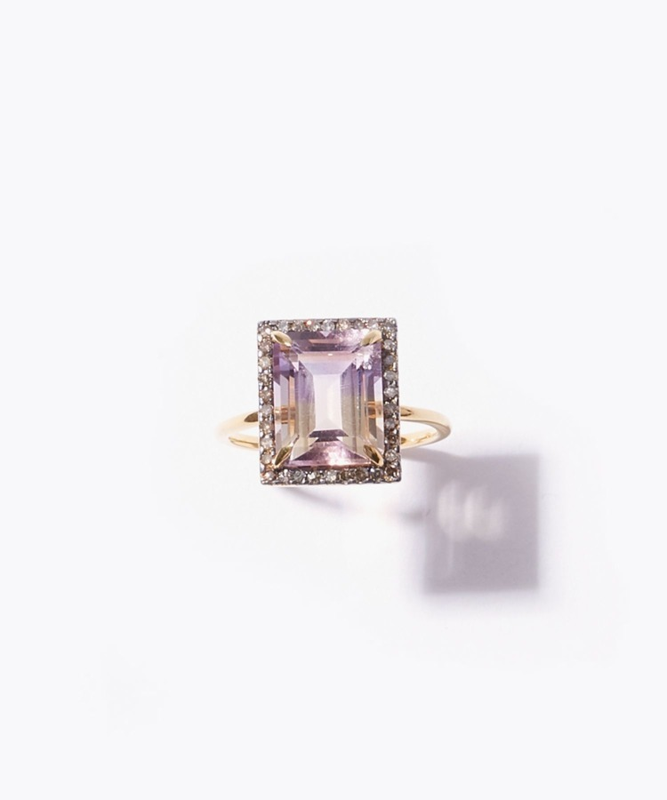 [elafonisi] rectangle ametrine pave diamonds ring