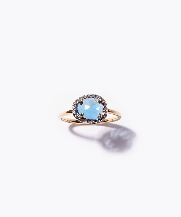 [elafonisi] rectangle london blue topaz pave diamonds ring
