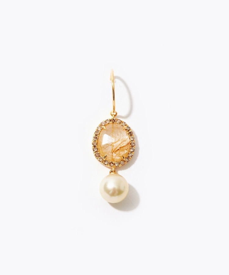 """philia"" gold pearl and citrine pave dia"