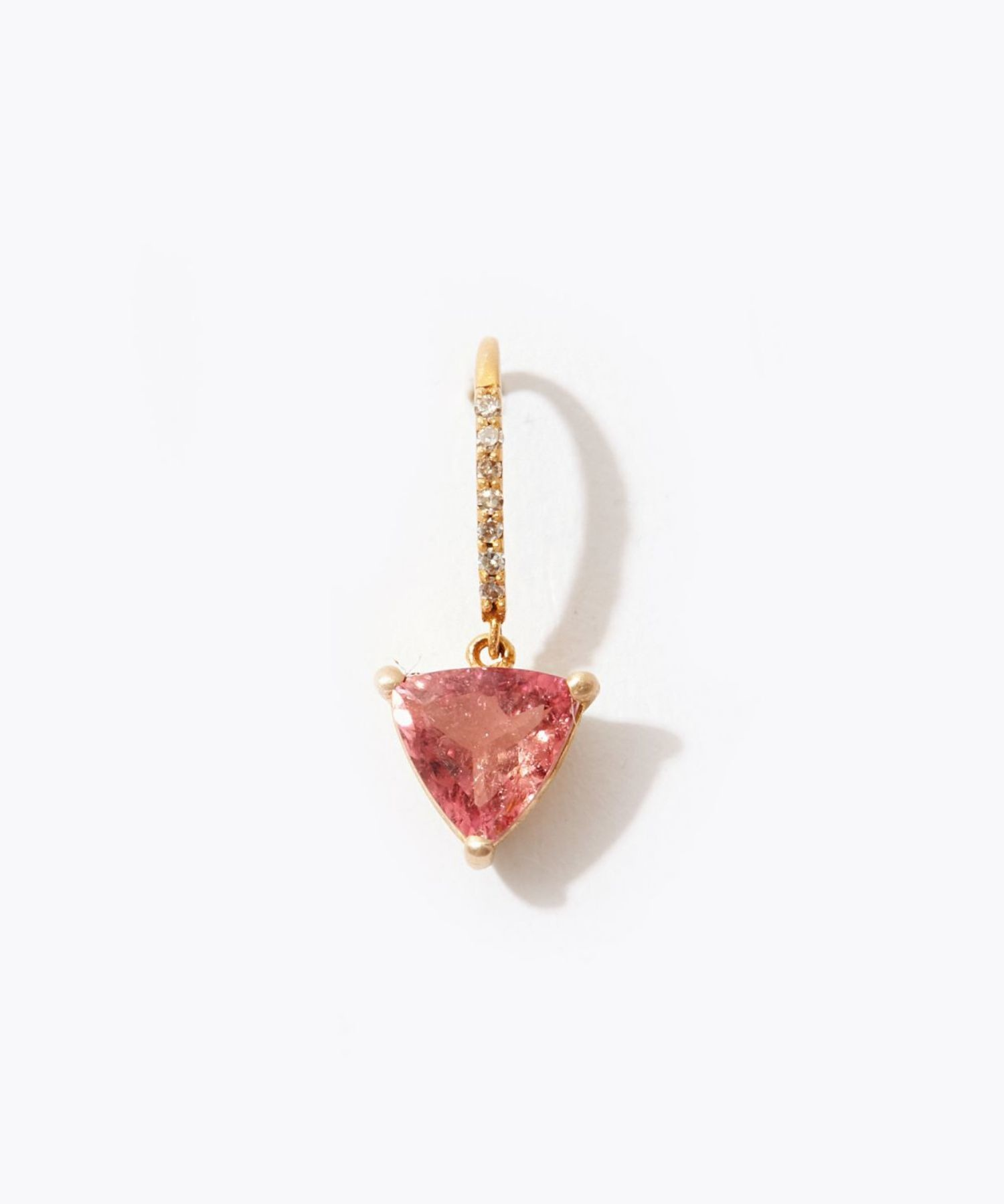 [eden] K10 triangle pink tourmaline pave diamond pierced earring