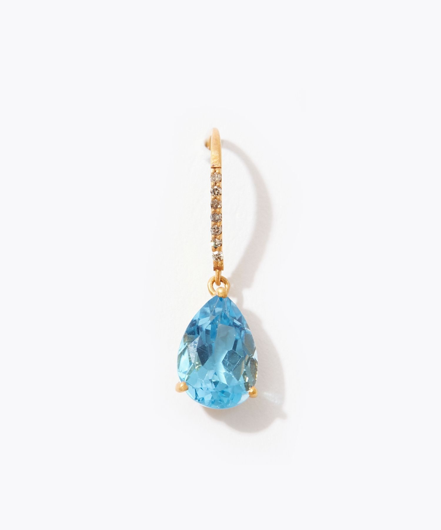 [eden] K10 pear shape blue topaz pave diamond pierced earring