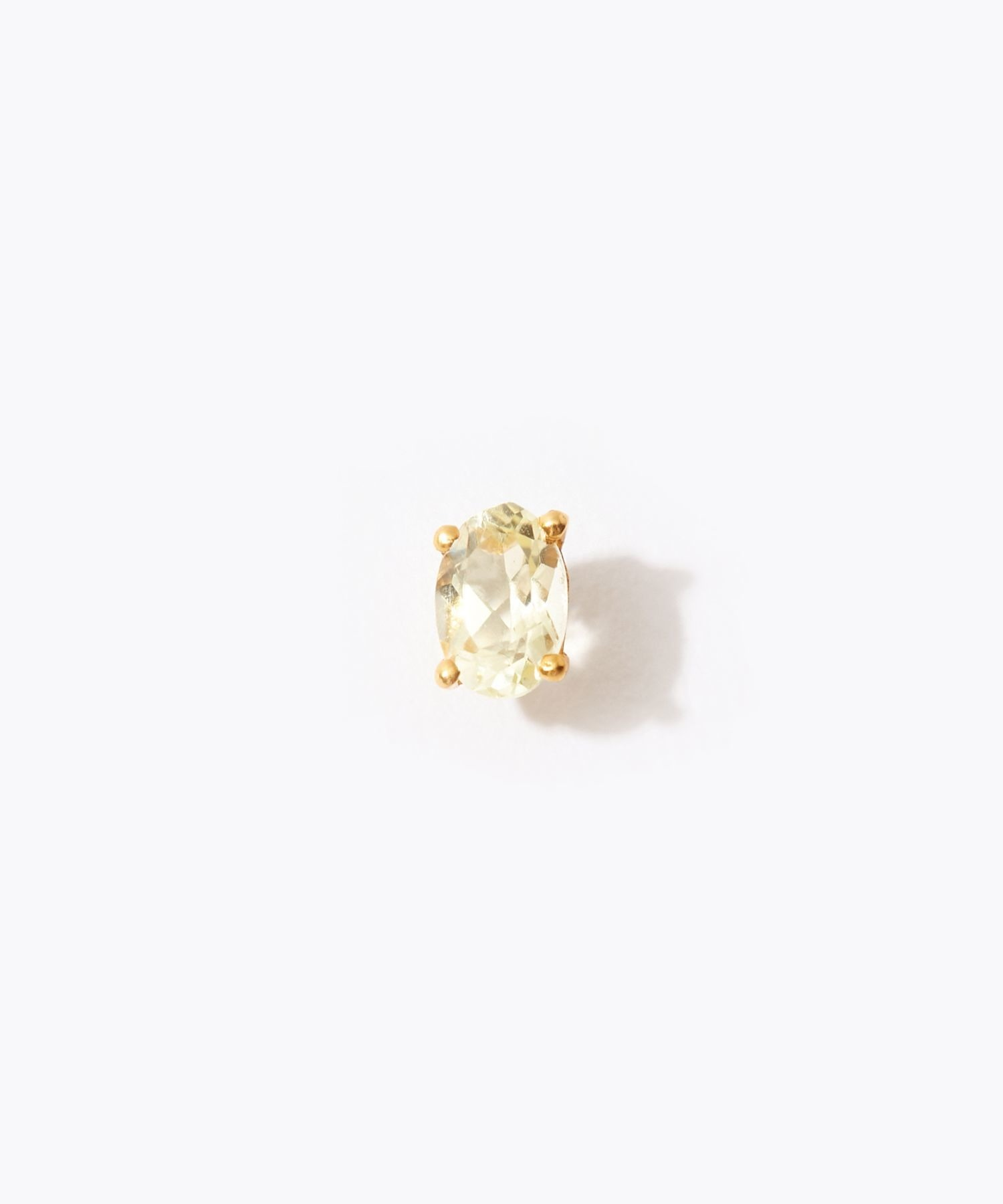 [eden] K10 oval lemon quartz stud pierced earring