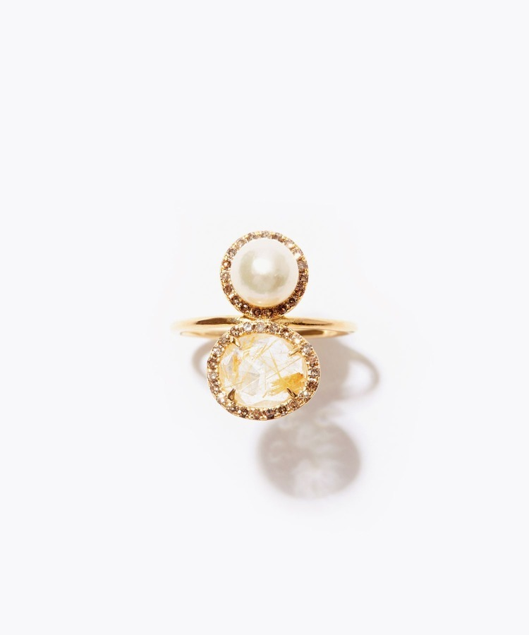 """philia"" K10 gold pearl and gold rutile quartz vertical pave diamond ring"