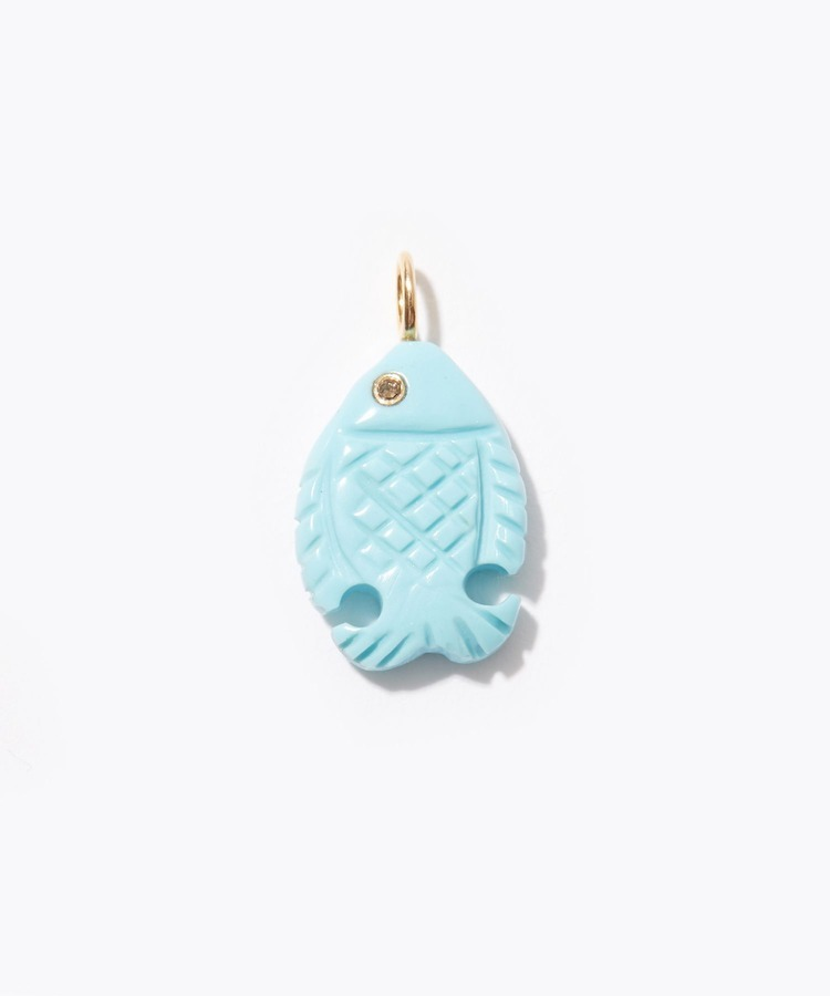 """eutopia"" K10 turquoise with diamonds charm"