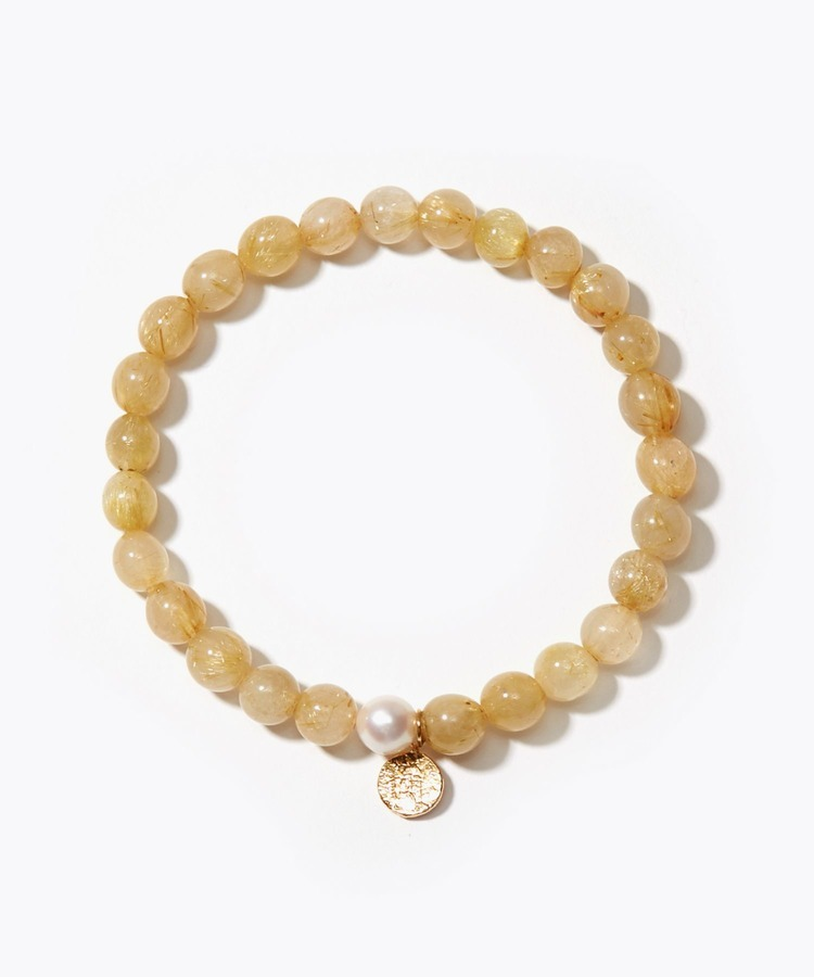 [amulette] [For money and a glittering fortune]Gold Rutile Quartz Petite Coin bracelet