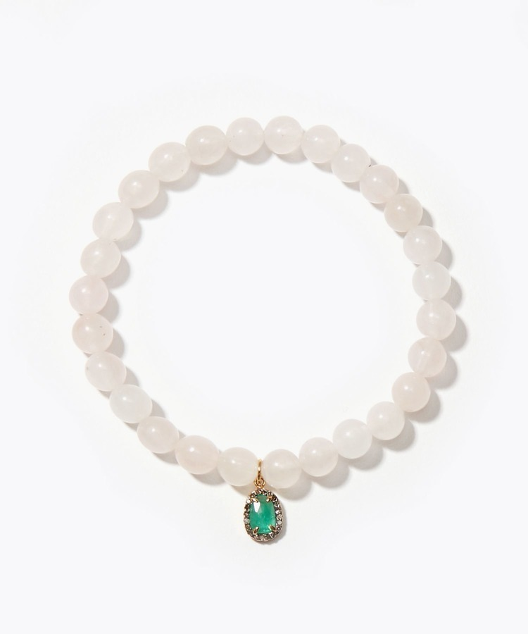 [amulette] [Beauty, love and tenderness]Rose quartz pave emerald bracelet