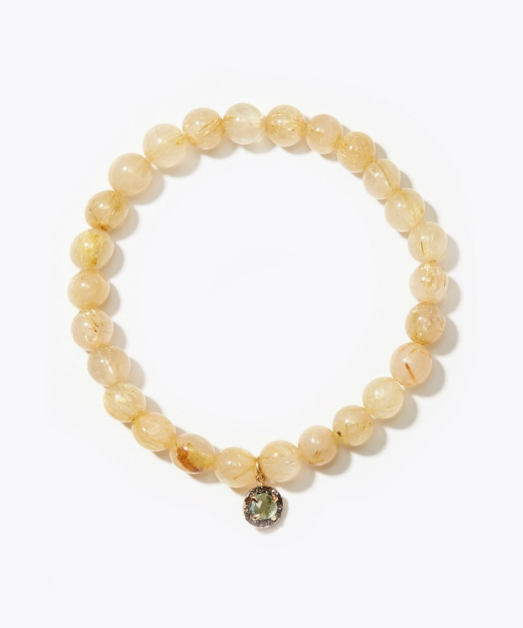 [amulette] [For money and a glittering fortune]Gold Rutile Quartz Pave Green Tourmaline bracelet