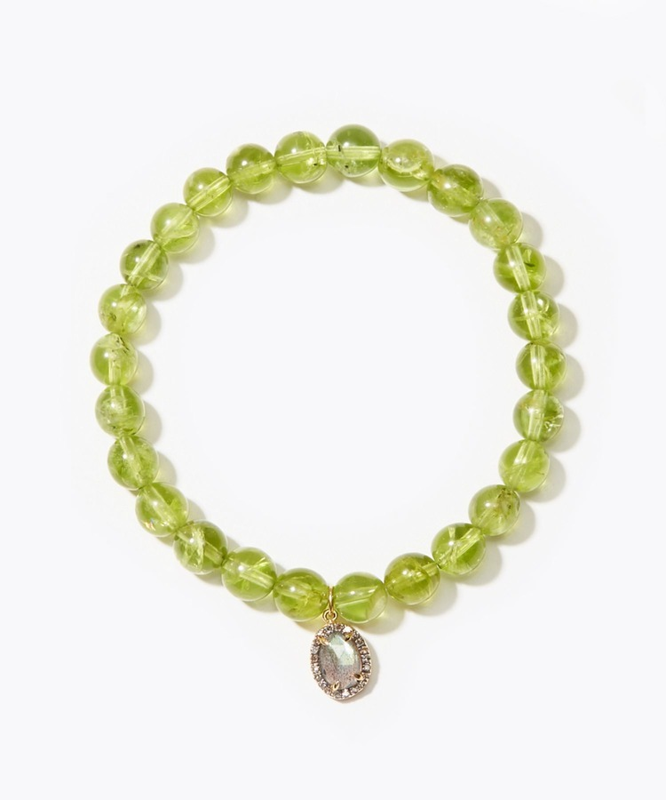 [amulette] [A shining light of hope]Peridot pave labradorite bracelet