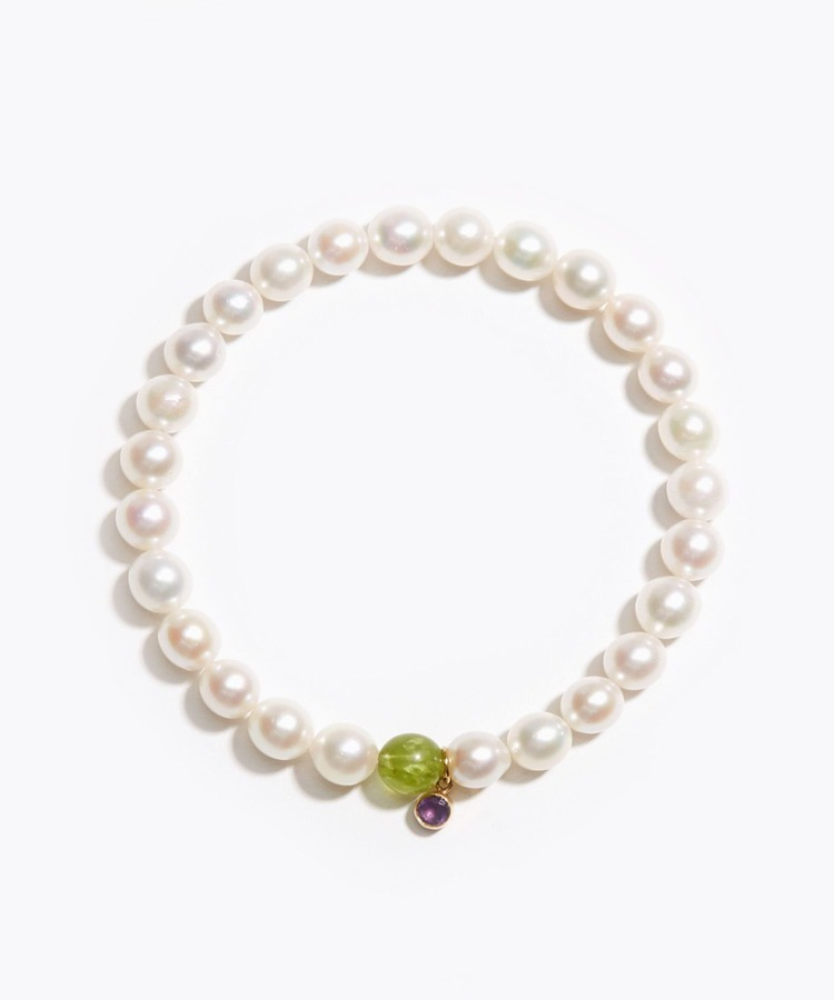 [amulette] [Protection of love and healing]Akoya pearls, amethyst, peridot bracelet