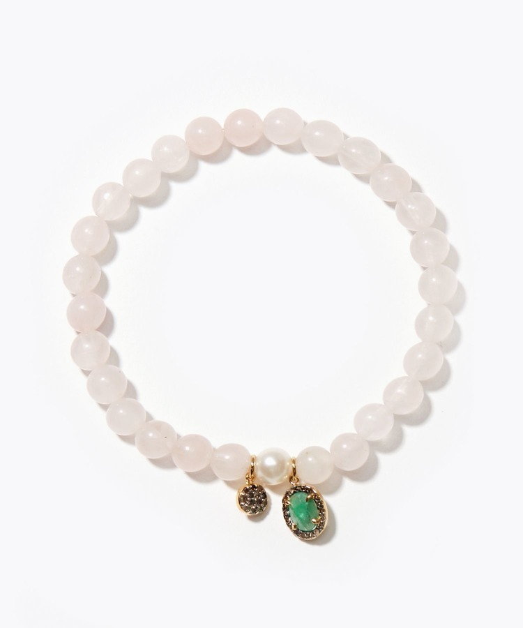 [amulette] [Beauty, love and tenderness]Rose Quartz Pave Emerald Akoya bracelet