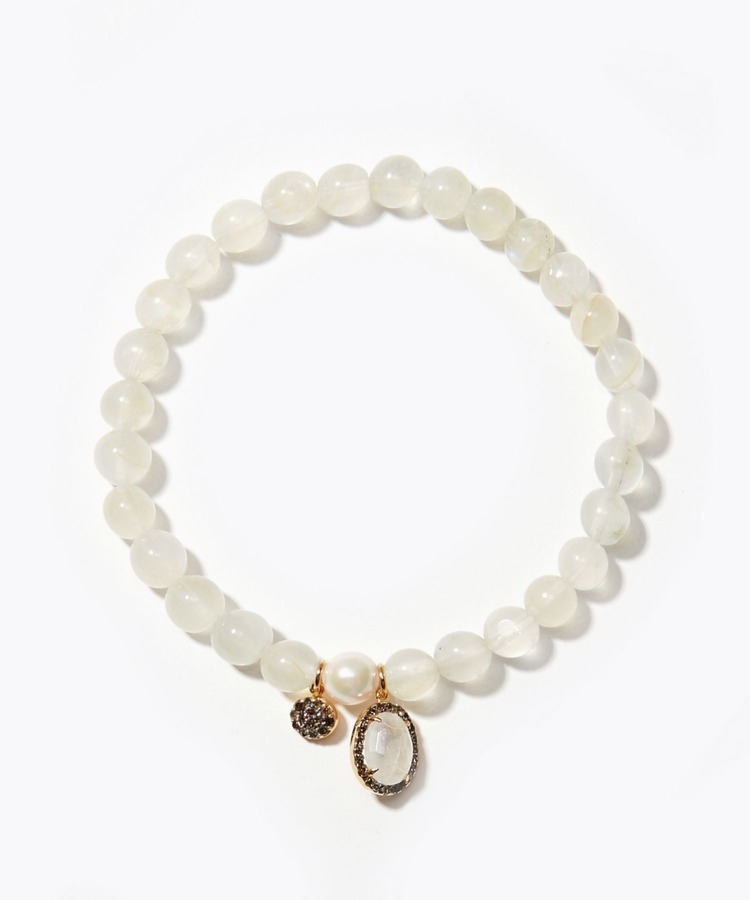[amulette] [brings romantic happiness]Rainbow Moonstone Pave Rainbow Akoya bracelet