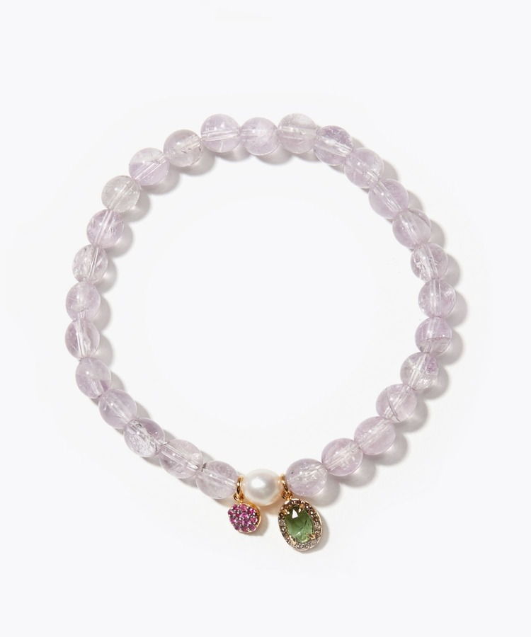 [amulette] [For the protection of true love]lavender amethyst pave blue tourmaline Akoya bracelet