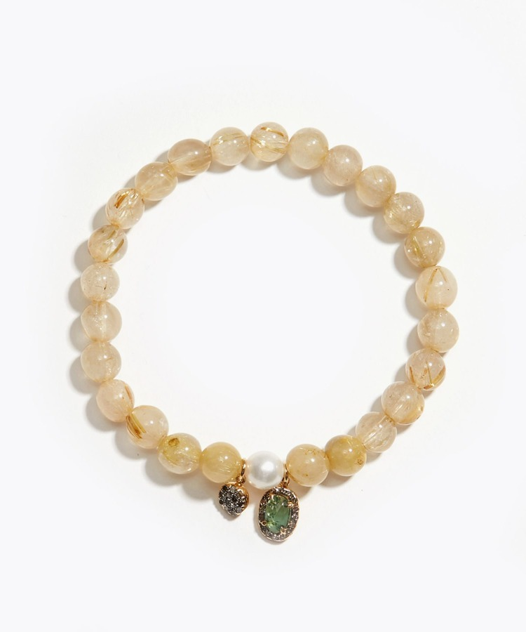 [amulette] [For money and a glittering fortune]Gold Rutile Quartz Pave Green Tourmaline Akoya bracelet