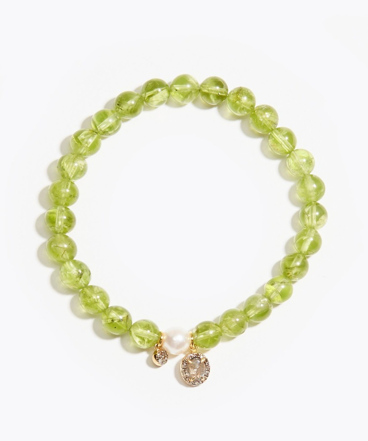 [amulette] [A shining light of hope]Peridot Pave Labradorite Akoya bracelet