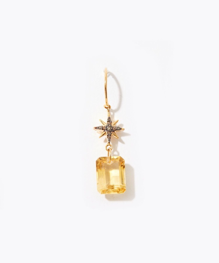"""elafonisi"" pave star citrine pierced ea"