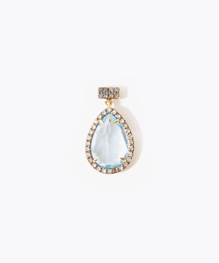 [elafonisi] pear shape blue topaz with double pave diamond pierced earring