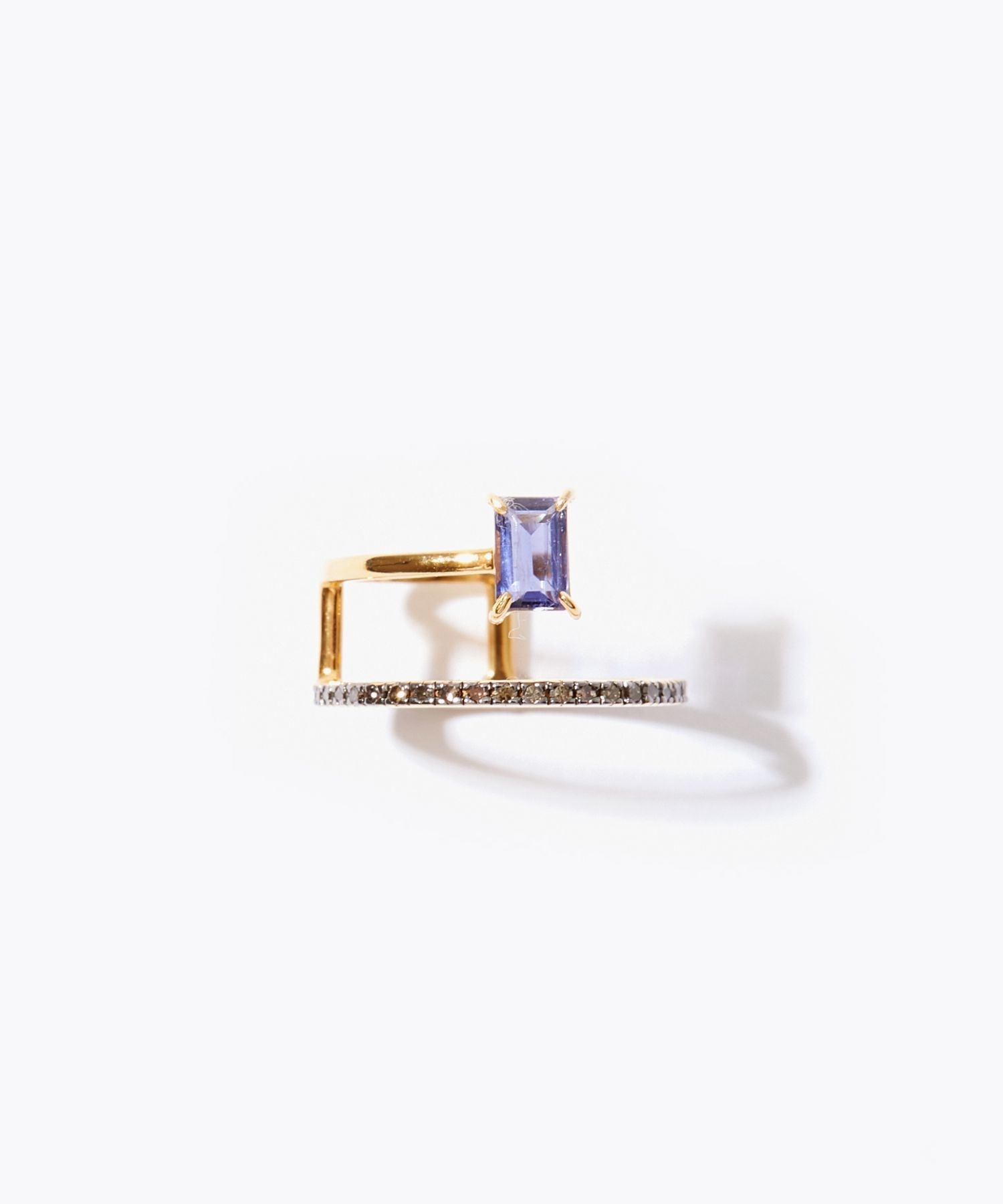 [elafonisi] rectangle iolite pave diamond double open ring