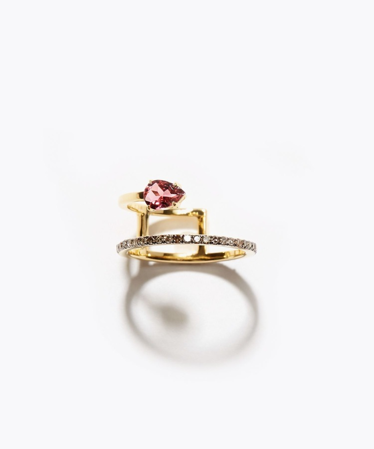 [elafonisi] pear shape pink tourmaline pave diamond double open ring