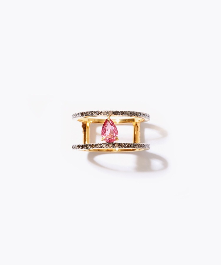 [elafonisi] pear shape tourmaline double pave diamond ring