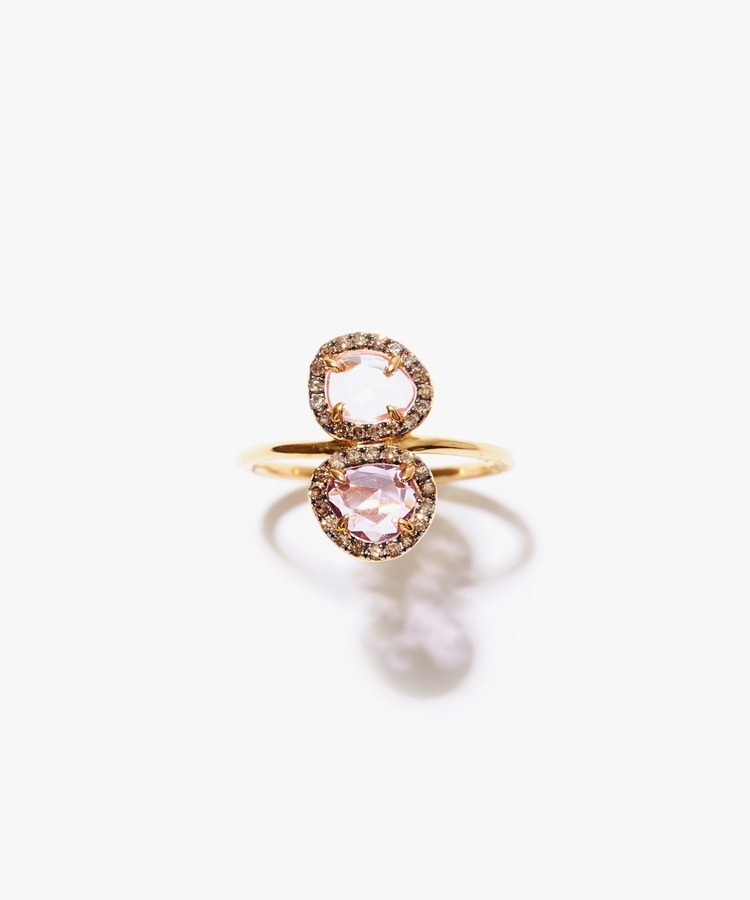 [elafonisi] 2nd Anniversary Limited pink&lavender sapphire pave diamond ring