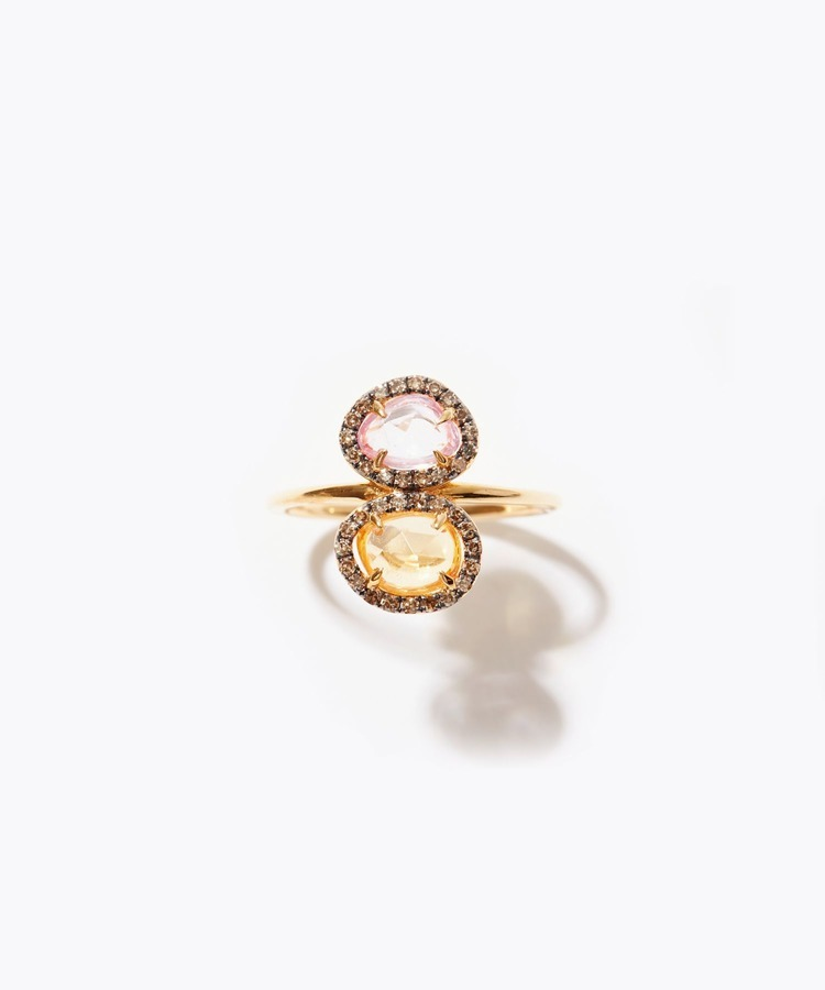 [elafonisi] 2nd Anniversary Limited yellow&pink sapphire pave diamond ring