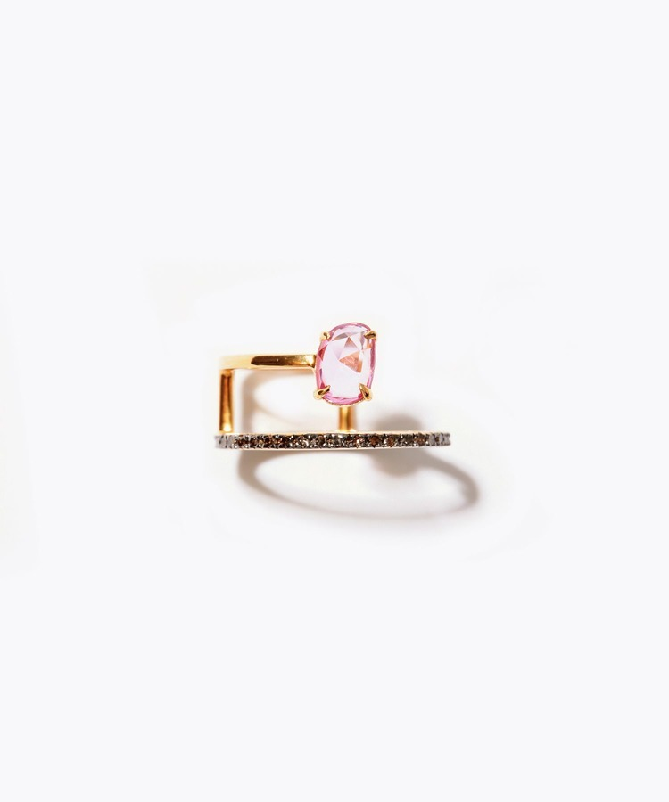 [elafonisi] 2nd Anniversary Limited pink sapphire pave diamond double open ring