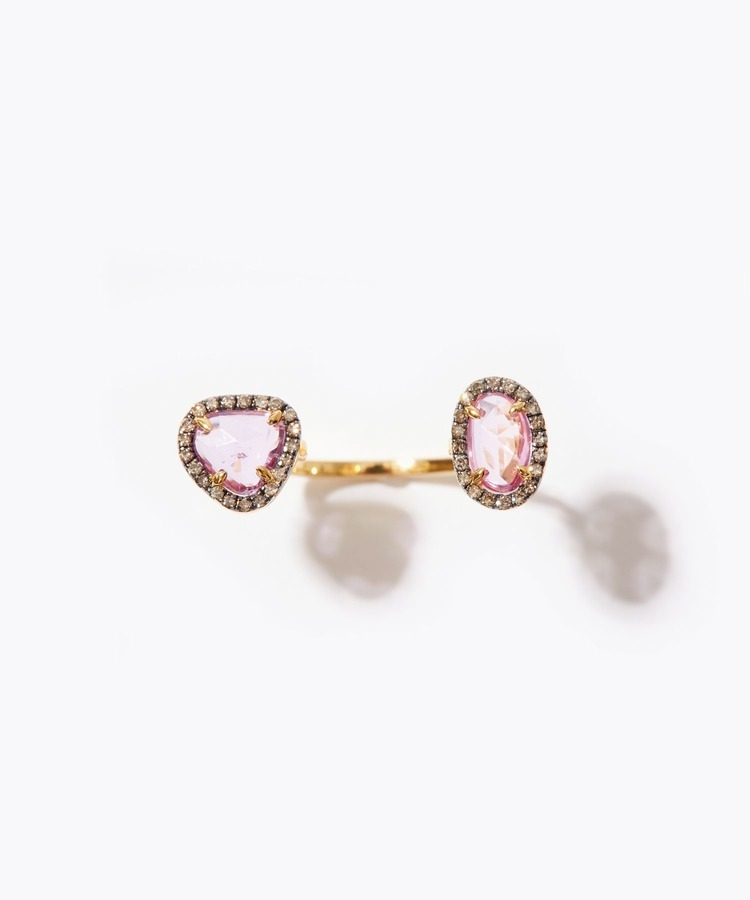 [elafonisi] 2nd Anniversary Limited pink&lavender sapphire pave diamond open ring
