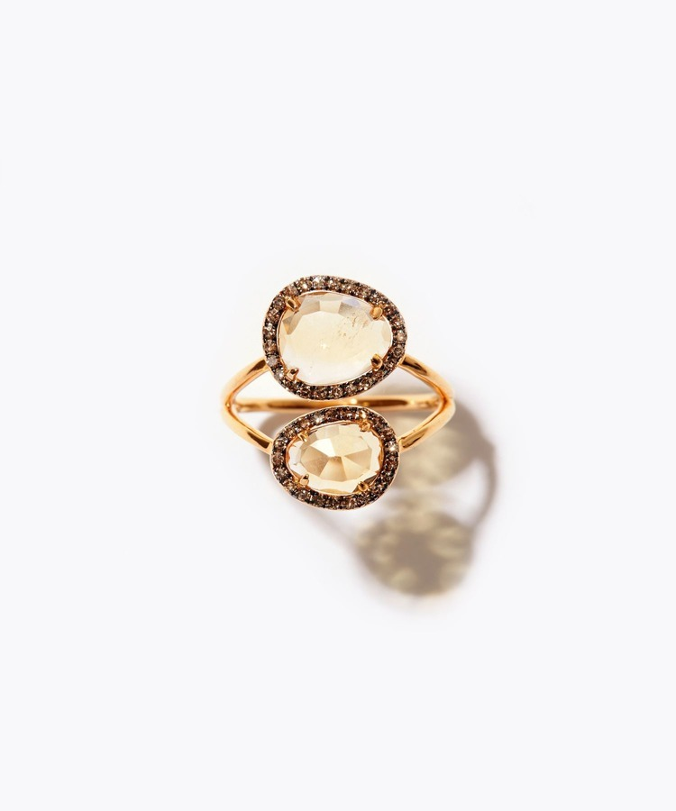 [elafonisi] double citrine pave diamond ring