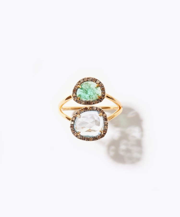 [elafonisi] emerald and blue topaz pave diamond ring