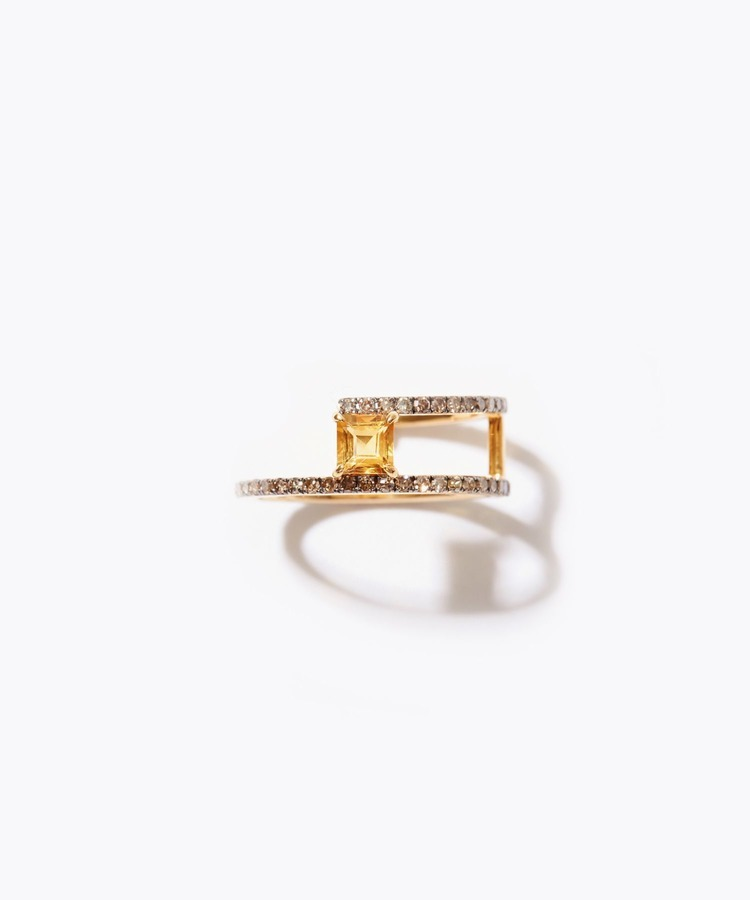 [elafonisi] square citrine pave diamond double open ring