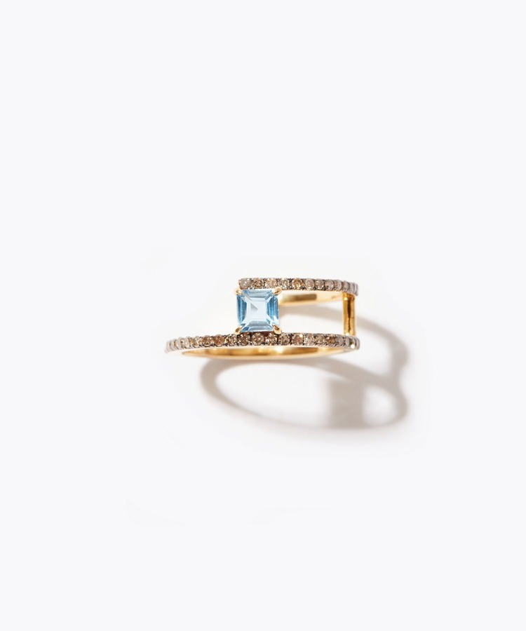 [elafonisi] square blue topaz pave diamond double open ring