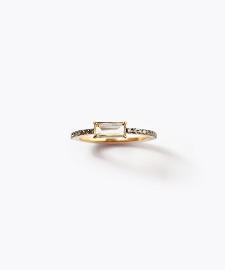 [elafonisi] rectangle tourmaline pave eternity ring