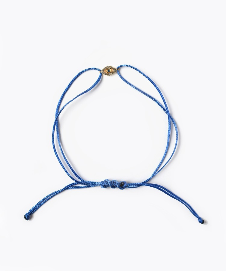 [I am donation] NGO thread bracelet with evil eye blue sapphire and pave diamonds charm bracelet
