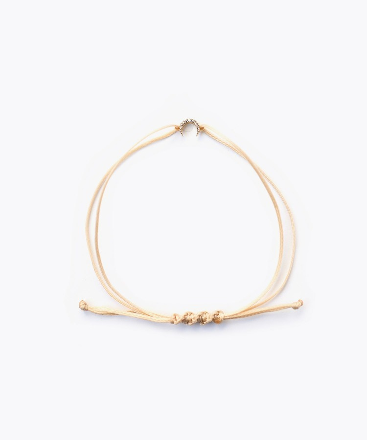[I am donation] NGO thread bracelet with new moon pave diamonds charm bracelet