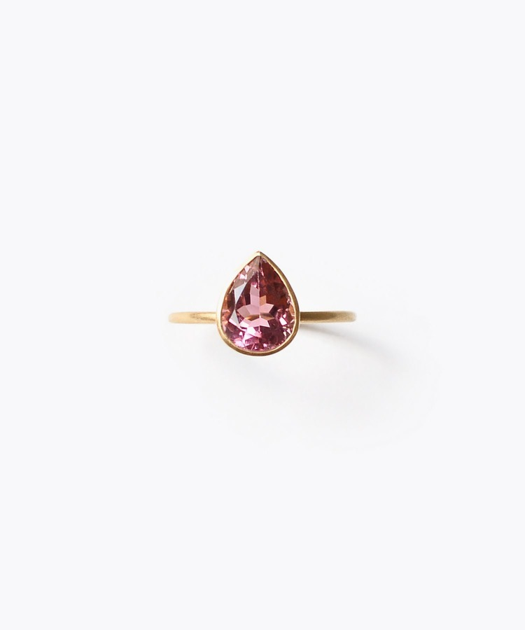 [palais] K18 pear-shape pink tourmaline ring