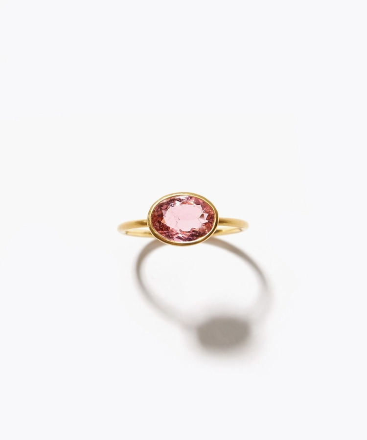 [palais] K18 oval pink tourmaline ring