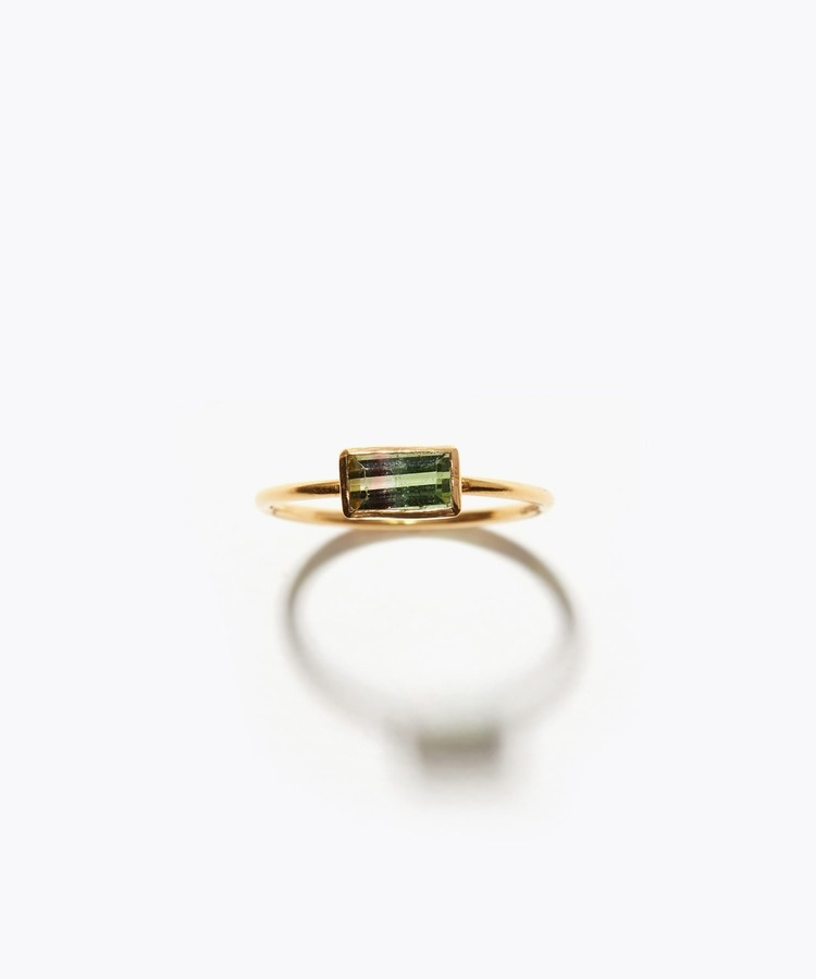 [palais] K18 rectangle bi-color tourmaline ring